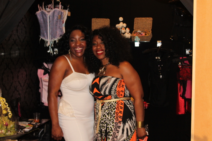 Tricia Blake (left) and Symone Reid happy to showcase their creative designs.
