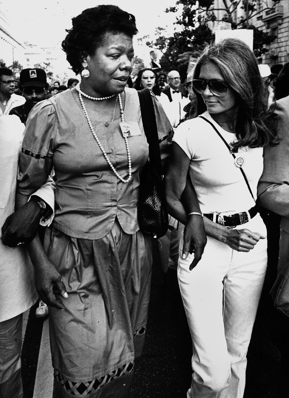 Angelou and Gloria Steinem commemorate the twentieth anniversary of the March on Washington, on August 27, 1983. Photograph by James M. Thresher:The Washington Post via Getty.