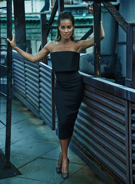 Dress by Victoria Beckham; pumps by Christian Louboutin; earrings and cuff by Hervé Van der Straeten / Photographer: Chris Colls / Styling: Kate Young