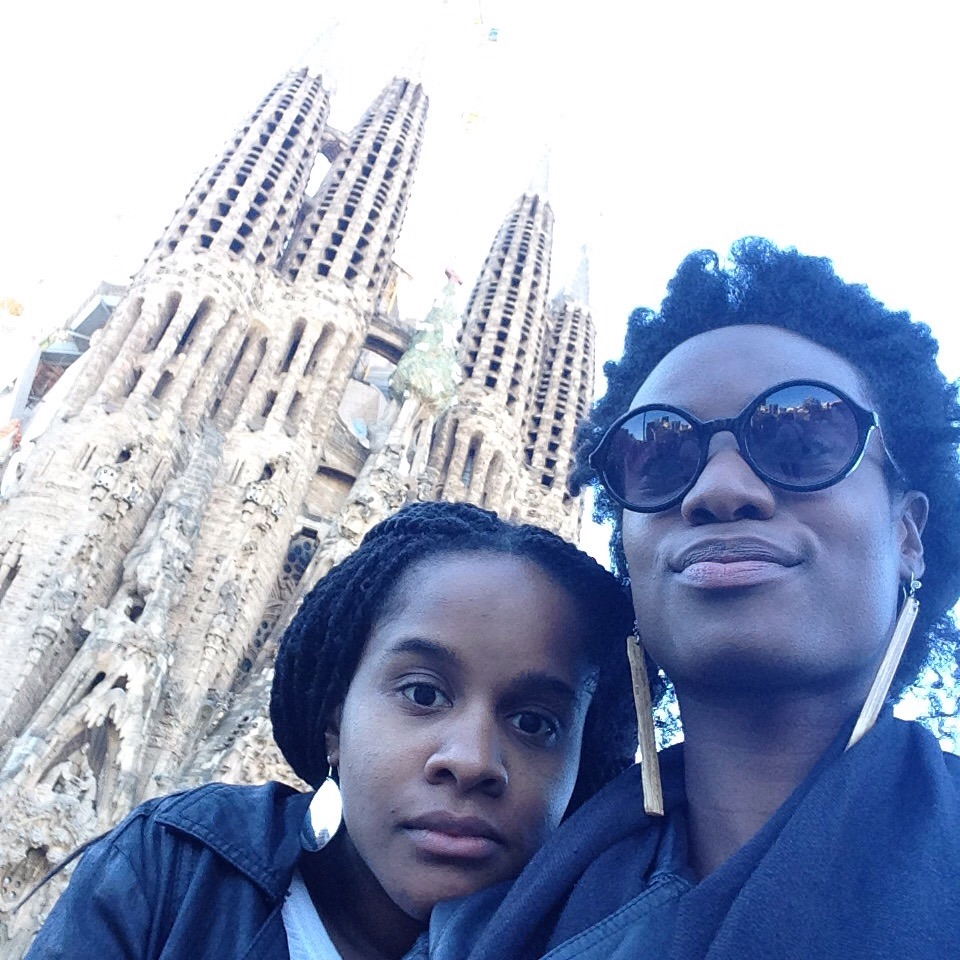© Zoié Smith (right) – Author and friend outside of Sagrada Familia