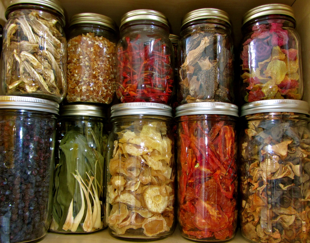 Stored, dehydrated, foraged foods to last through the winter.
