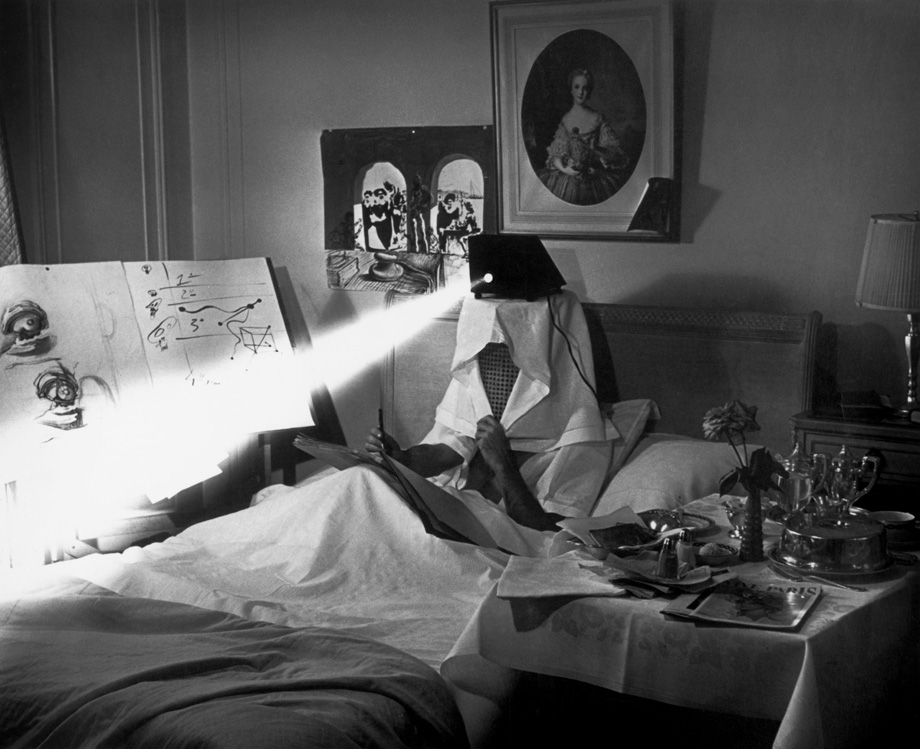 Salvador Dali in bed