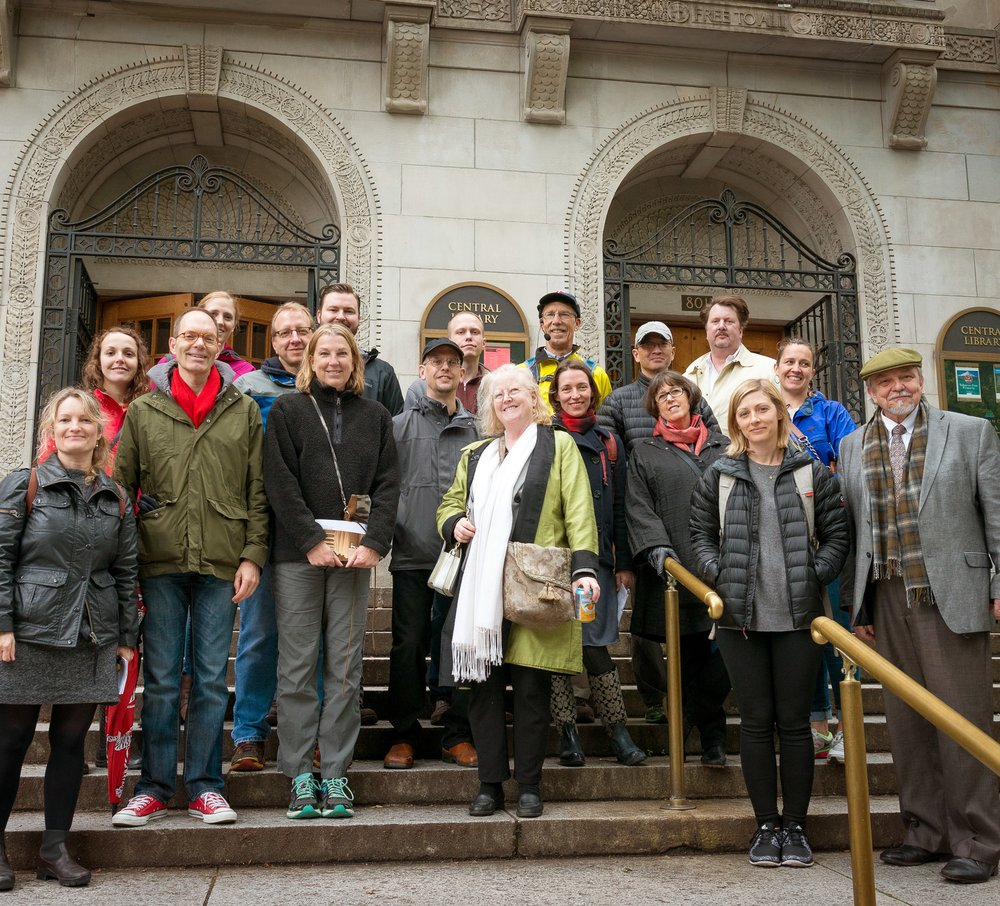 Tour members in front of A.E. Doyle's Central Library (1913). ICAA-NW board members traveled to Portland for the weekend to join a good local group and lend their insight and enthusiasm to the tour.