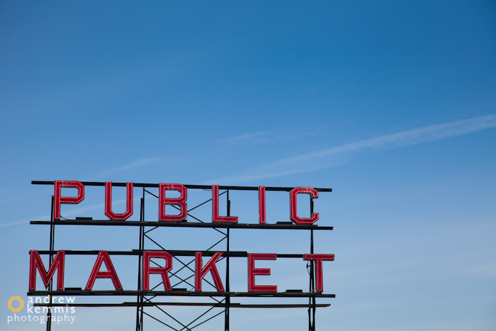 Public Market sign at theenterance to Pike Place Market in Seatt