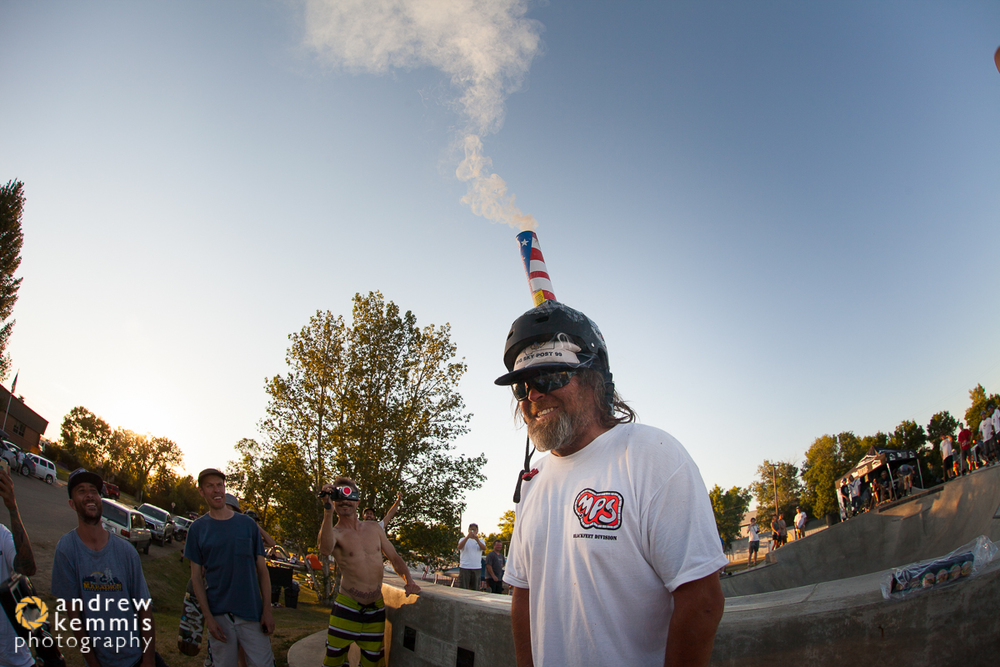Helmet mounted firework launcher. This got real fun when someone's drone was hovering overhead.