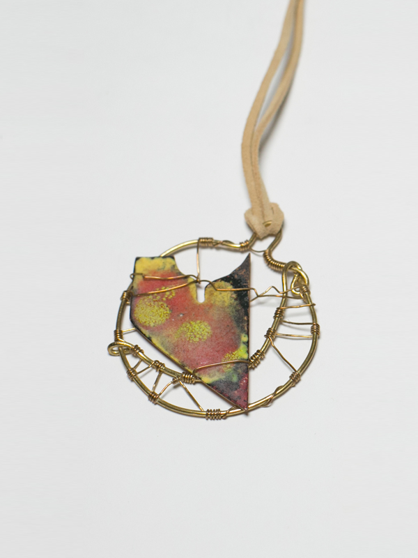 Orange and Yellow Enamel Talisman