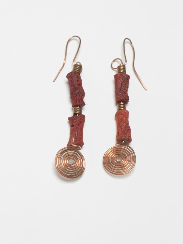 Raw Coral Earrings 2