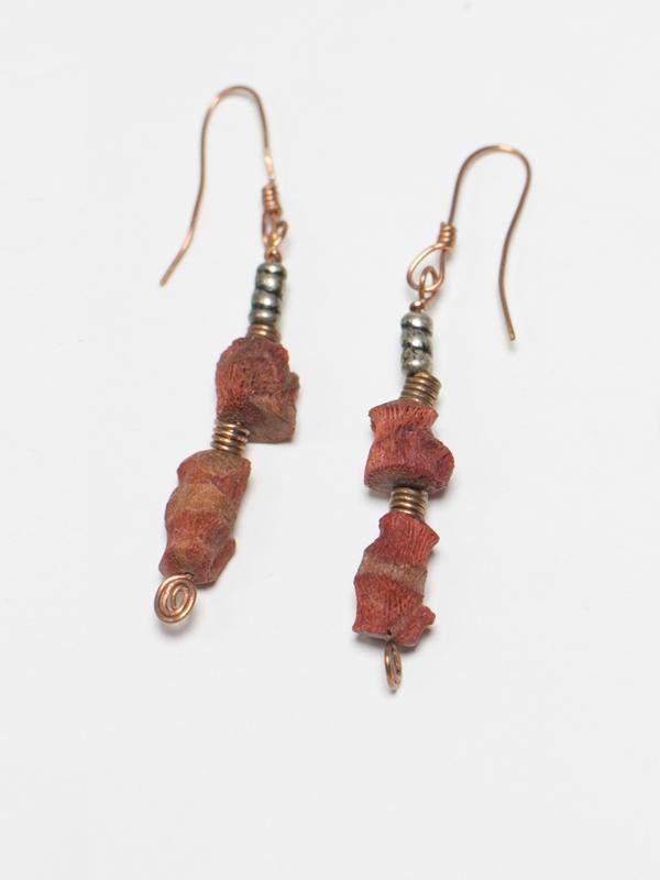 Raw Coral Earrings 1
