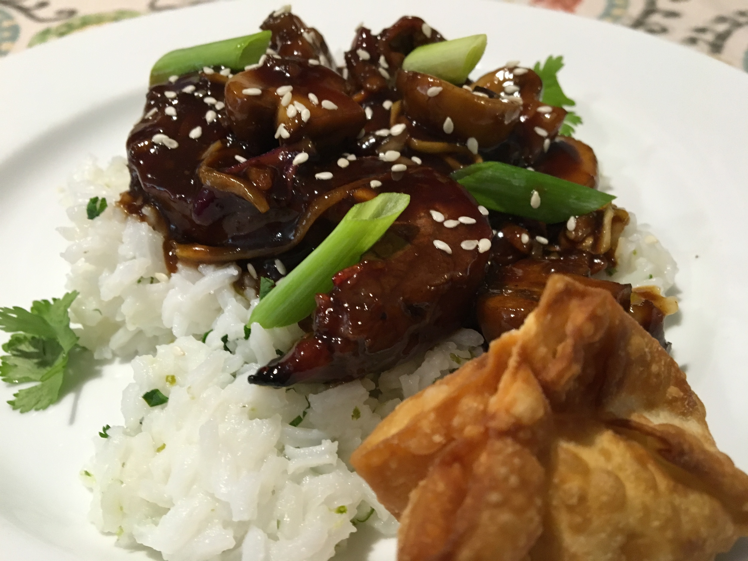 Mongolian Beef, Cilantro Lime Rice and Deep Fried Crab Cheese Rangoon