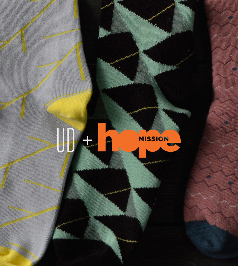 1 for 1 - For every sock subscription purchased, we'll donate a pair of socks to Hope Mission.