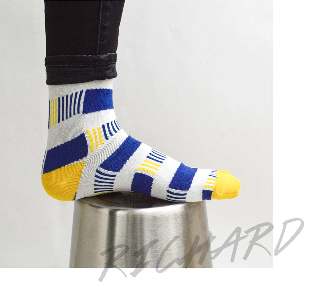 Blue  and Yellow Pattern Socks | Urban Drawer