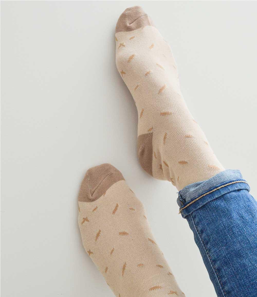 Tan Dot Pattern Crew Socks | Urban Drawer