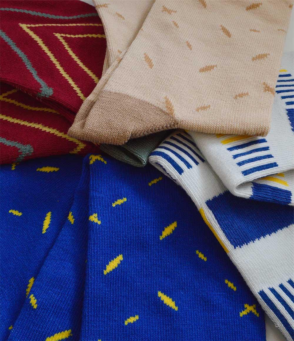 Blue and Yellow Dot Pattern Crew Socks | Urban Drawer