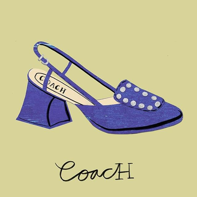 Shoe 44 / #100dreamshoes: @coach satin blue heels  #fashionillustration #illustration #art #coachshoes