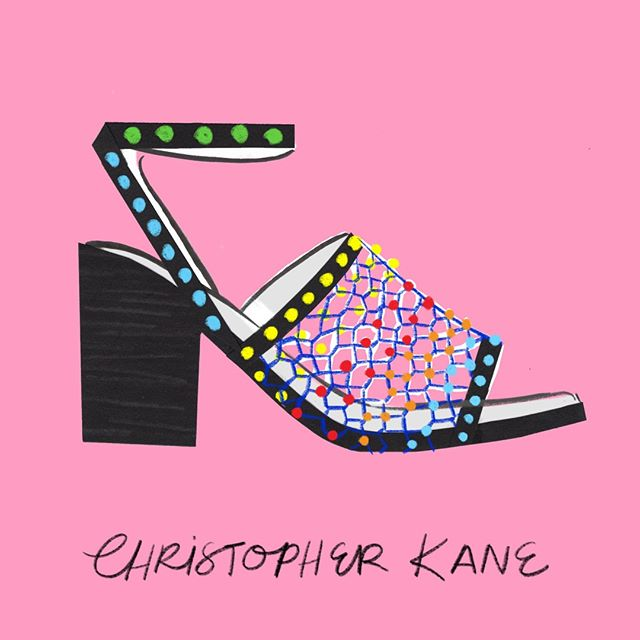 Shoe / #100dreamshoes: @christopherkane beaded sandals  #christopherkane #fashionillustration #illustration #art #drawing