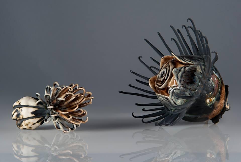 To Become Attached I & II, 2014, Glazed stoneware ceramic