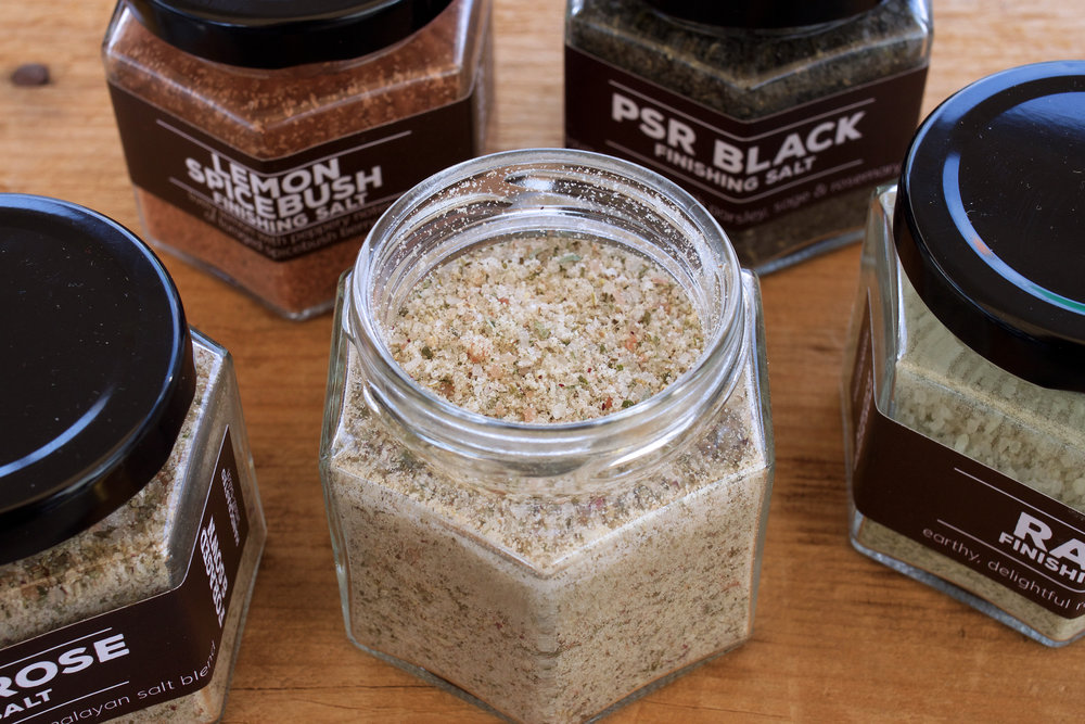 Finishing salts in a variety of flavors: Lemon-Spicebush, Ramp, PSR Black, limited edition Desert Rose and garlicky Soil, Sun & Sea