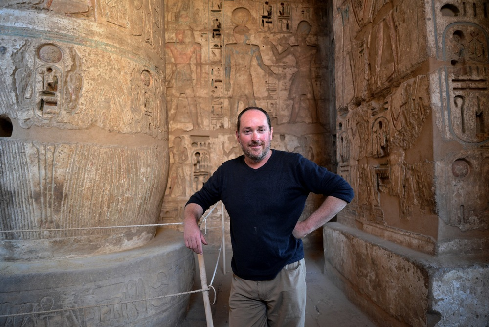 Nile Magazine editor, Jeff Burzacott, at Medinet Habu - the memorial temple of King Ramesses III.