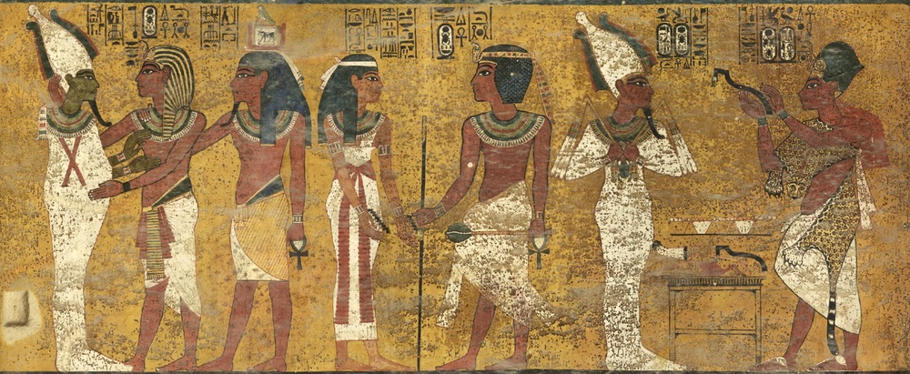 The north wall of Tutankhamun's Burial Chamber presents the principal stages in the king's transition from this world to the realm of the gods. The scenes read from right to left; the Opening of the Mouth of Tutankhamun's mummy by Ay, the next pharaoh; Tutankhamun welcomed into the Underworld by the goddess Nut; and Tutankhamun, accompanied by his Ka spirit, embraced by Osiris, god of the Underworld.