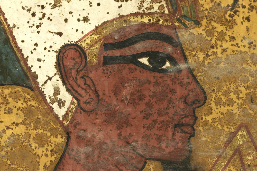 The face of the mummified king on the north wall of the Burial Chamber. Traditionally this has been assumed to represent Tutankhamun.