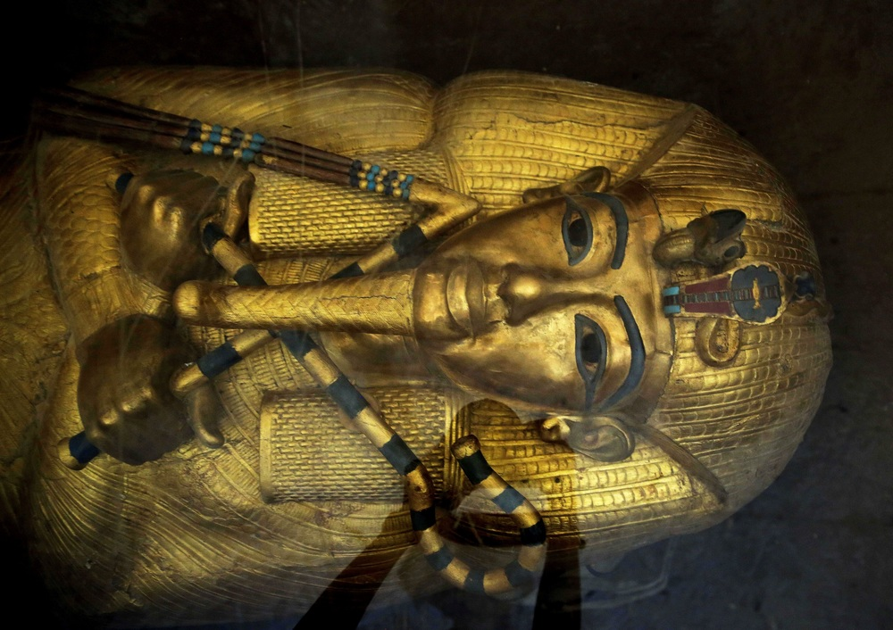 Tutankhamun's gilded outer coffin; one of three that protected the royal mummy. It still rests in the king's stone sarcophagus in the burial chamber that Nicholas Reeves believes was originally part of the corridor of Nefertiti's tomb. Photo: Nariman El-Mofty
