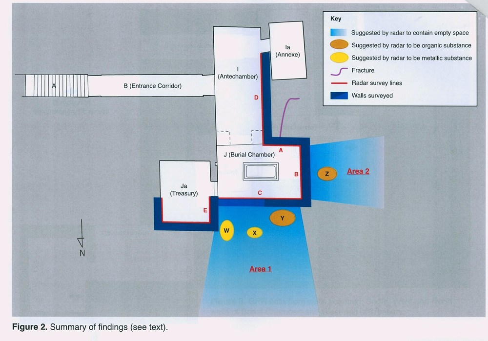 The radar scans indicate that the north and west walls of Tutankhamun's burial chamber are not only hiding secret chambers, but also organic and metal substances. Image: Ministry of Antiquities.