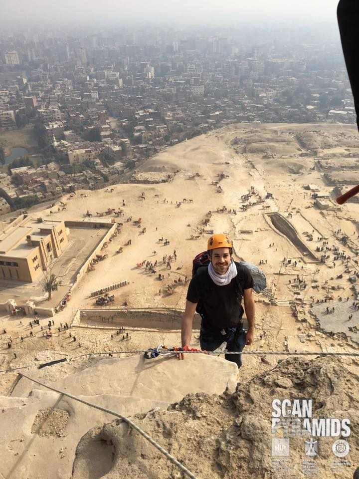 Benoit Marini from the ScanPyramids team on his way to Notch N2 for 3D scan operations. Photo: Mehdi Tayoubi.