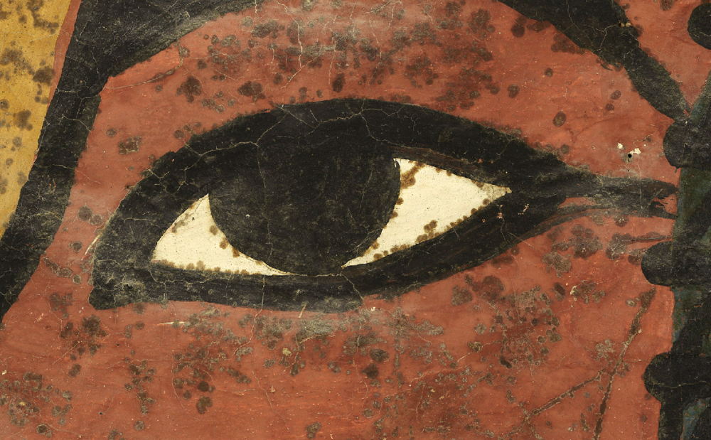 A detail of Tutankhamun's eye from the north wall of the king's tomb. It is behind this wall, some believe, that the untouched burial of Queen Nefertiti lies, waiting to be discovered. Photo: Factum Arte.