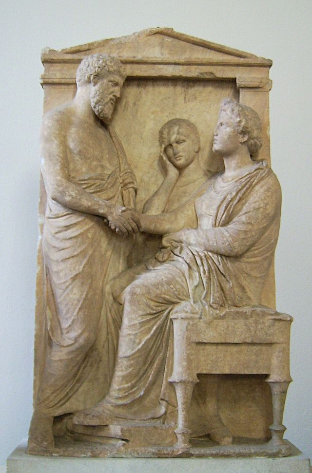Funerary stele of Thrasea and Euandria. Marble, ca. 375-350 BC. Antikensammlung Berlin, Pergamon Museum