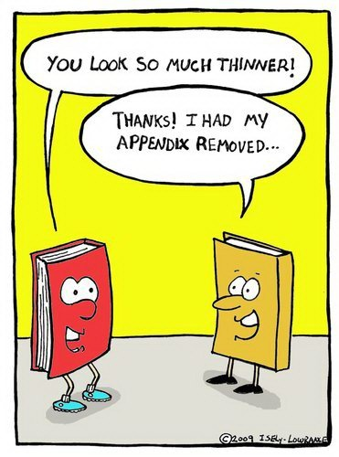 Books have appendectomies too! Haha
