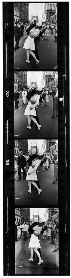 Sailor kisses nurse on VJ Day at Times Square by Alfred Eisenstaedt (1945)