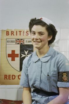 Nursing: Half-length portrait of Nurse Diana Hotham of the Voluntary Aid Detachment (VAD) in Italy. Nurse Hotham spent 3 1/2 years nursing at Bovington Camp and Aldershot before going to Italy.