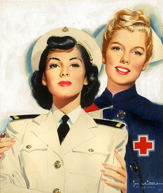 beautiful painting by Jon Whitcomb, 1944. Red Cross nurse and Navy Nurse