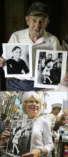 The Sailor and the Nurse from the famous D-Day kiss picture taken in Times Square, NY.