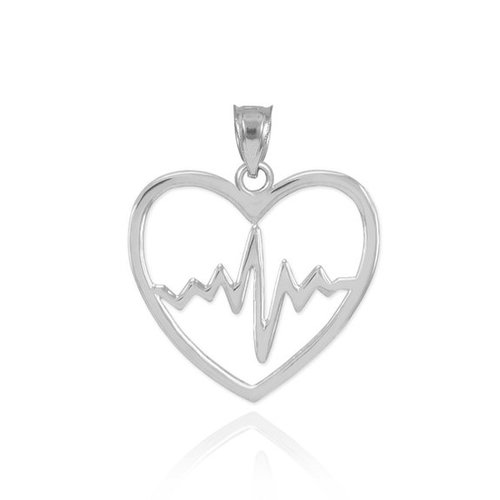 925 sterling silver lifeline pulse heartbeat charm open heart 925 sterling silver lifeline pulse heartbeat charm open heart pendant necklace aloadofball Images