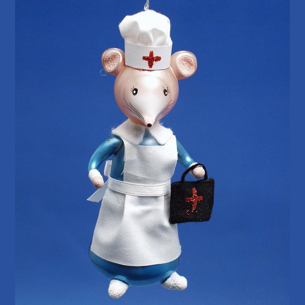De Carlini Nurse Mouse Italian Glass Christmas Ornament — De Carlini ...