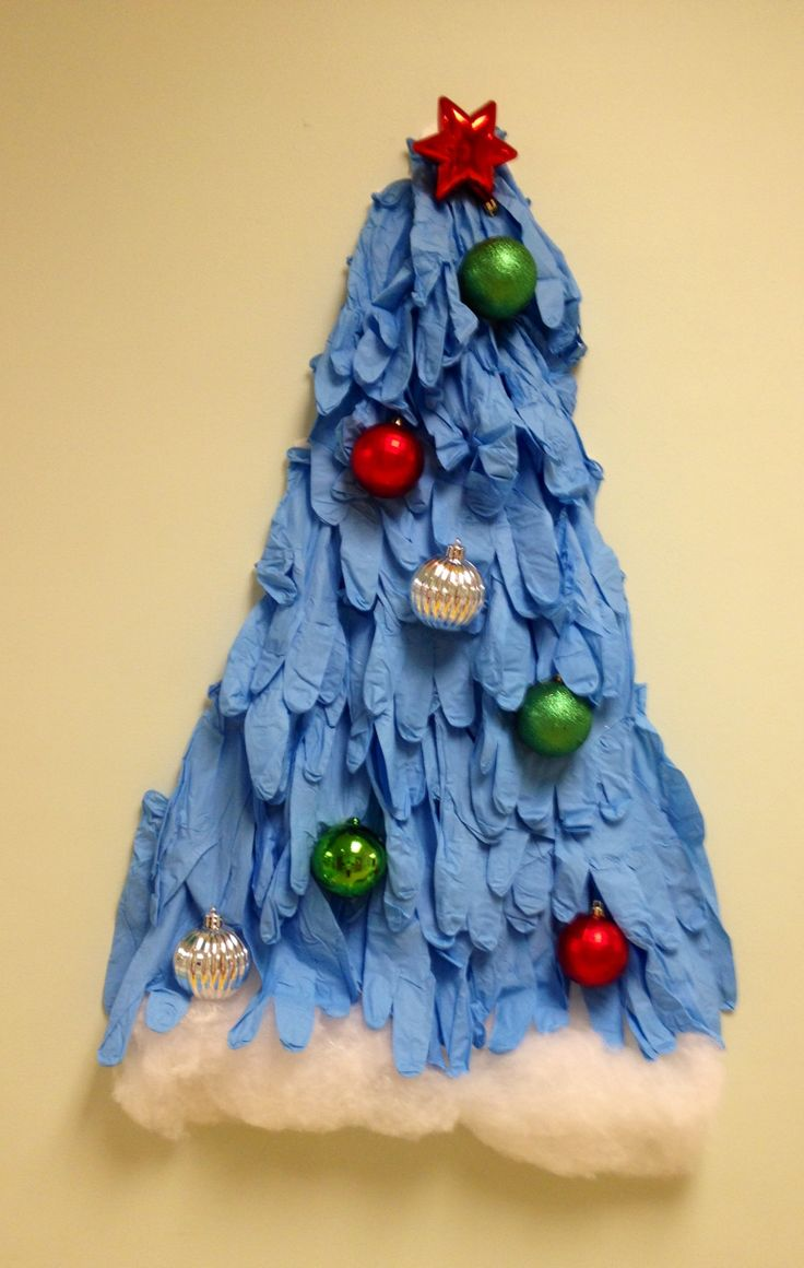 How do you make a Christmas tree out of surgical gloves
