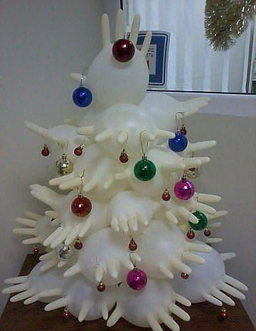 How do you make a Christmas tree from surgical gloves