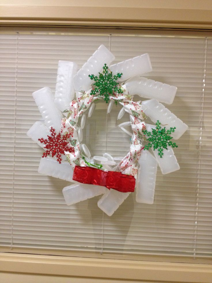 Christmas wreaths made of urinals