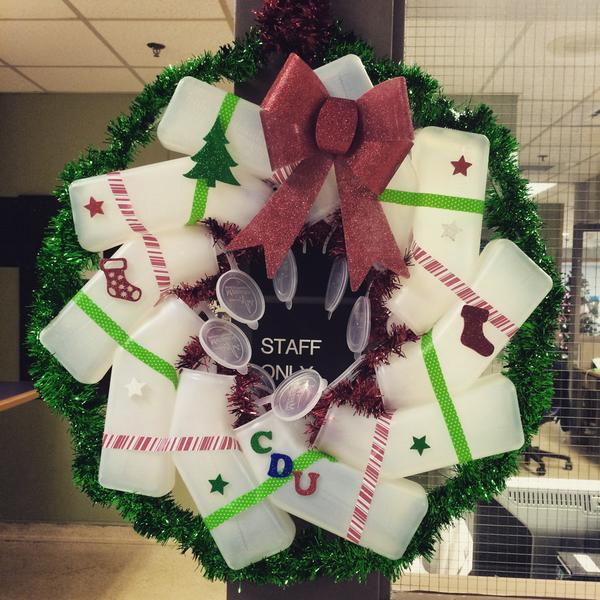 Christmas wreaths made from urinals