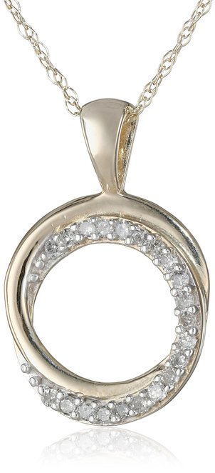 10k Yellow Gold and Diamond Circle Pendant Necklace (0.10 Cttw, I-J Color, I2-I3 Clarity), 18""