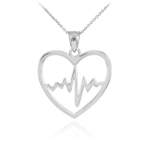 925 Sterling Silver Lifeline Pulse Heartbeat Charm Open Heart Pendant Necklace