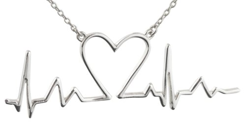 925 Sterling Silver EKG Lifeline Heartbeat Pendant Necklace, 18 Inch