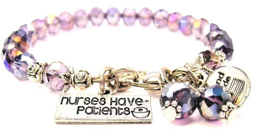 Lavender Purple Crystal Nurses Have Patients Bracelet