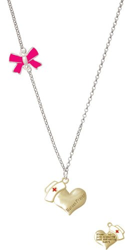 Nurse's Prayer Heart Delicate Hot Pink Bow Necklace