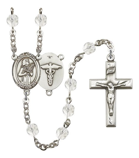 Silver Finish St. Agatha-Nurse Rosary with 6mm Crystal Color Fire Polished Beads, St. Agatha-Nurse Center, and 1 3/8 x 3/4 inch Crucifix, Gift Boxed