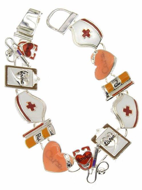 Nurse Nursing Theme Link Strap Charm Bracelet with Magnetic Clasp Silver-Tone