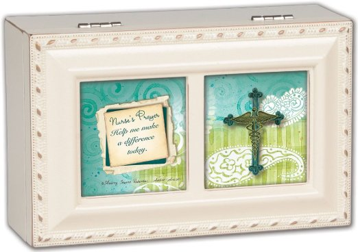 Cottage Garden Nurses Prayer Ivory Petite Music Box / Jewelry Box Plays Friend In Jesus