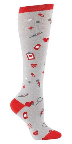 9f43331293 Sock It To Me NURSE Womens Knee Socks, Grey, One Size Fits Most ...
