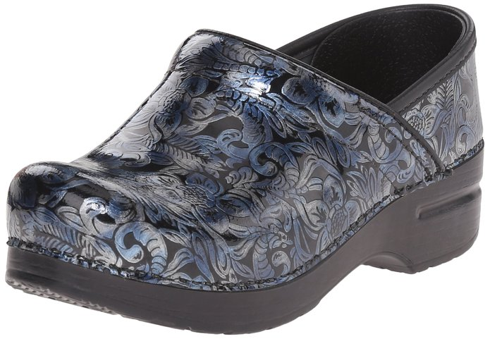 Dansko Women's Prof Silver/blue Tooled Mule